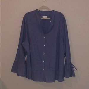 Chambray Blouse with Long Sleeves